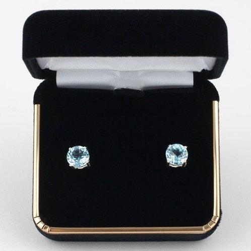 Aquamarine 7mm Round Earrings