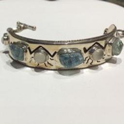 Aquamarine & Cats Eye Moonstone Bracelet