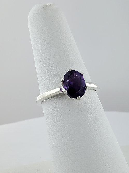 Amethyst Ring, 8 x 6mm in Sterling Silver