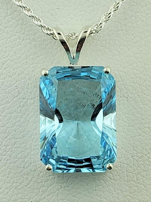 Blue Topaz Emerald Cut Solitaire Pendant