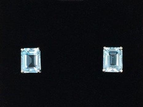 Aquamarine 7 x5 Emerald Cut Earrings