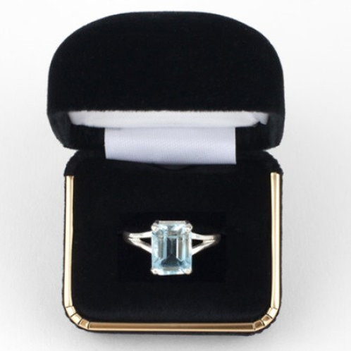 Aquamarine 7x5mm Emerald Cut Solitaire Ring