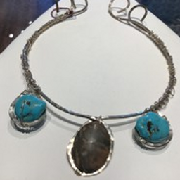 Turquoise & Jasper Wire Wrap Necklace