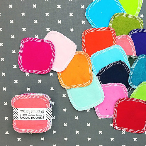 Facial pads - Rainbow solid colour (20 pack)