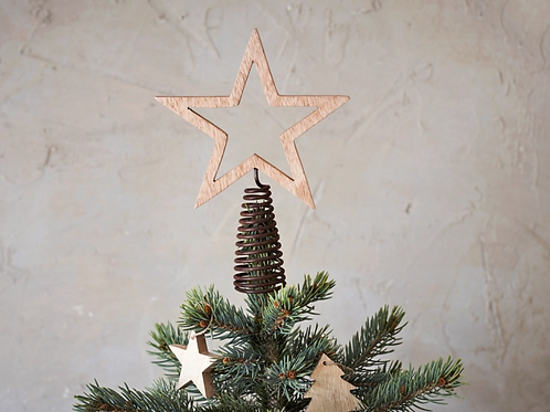 Wooden star tree topper