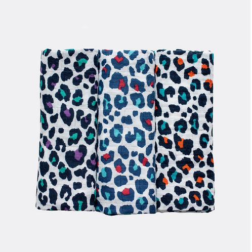 3 pack muslin leopard prints - for 5+ month old babies