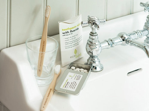Flouride toothpaste tablets (Tin)