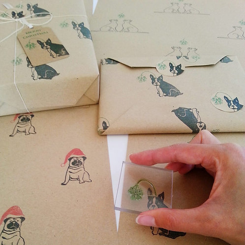 Christmas wrapping paper (frenchie)