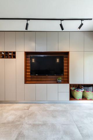 יחידת אחסון עם טלויזיה בסלון