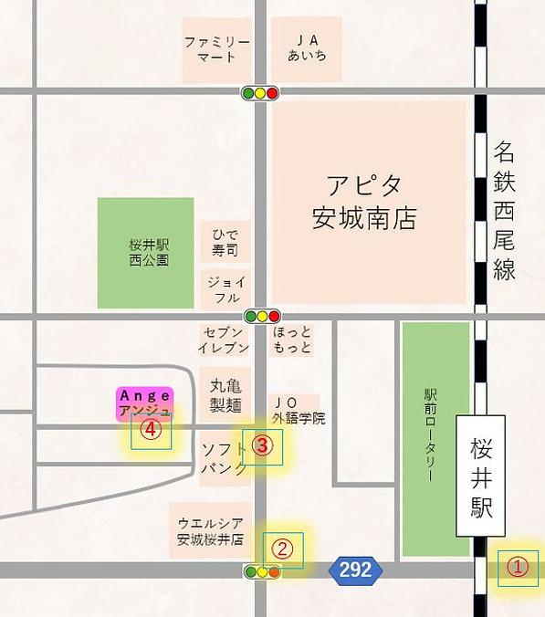 安城市のAngeの地図(名鉄桜井駅からの行き方)
