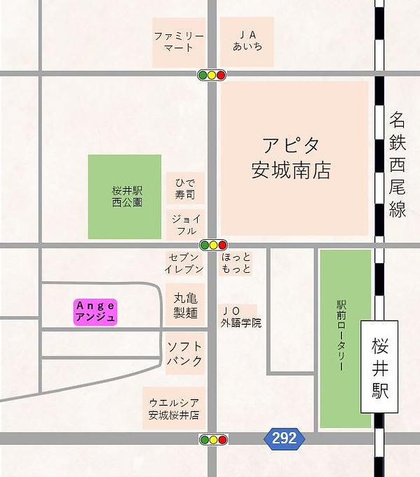 移転後の地図:安城市名鉄桜井駅のすぐそば、岡崎市・西尾市からのアクセスも抜群.J