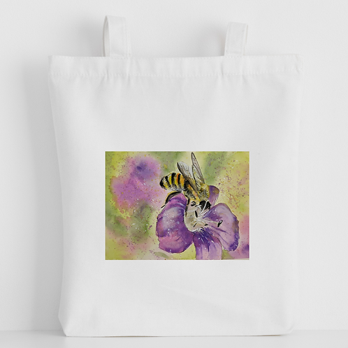 Luxury canvas tote bag, Bumble bee on flower, handprinted in Cornwall