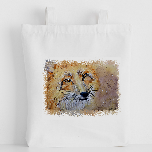 Luxury canvas tote bag, red fox, handprinted in Cornwall