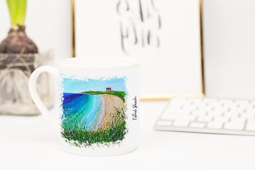 Art of Cornwall, Bone china mug,  Fistral Beach, Newquay, Cornwall