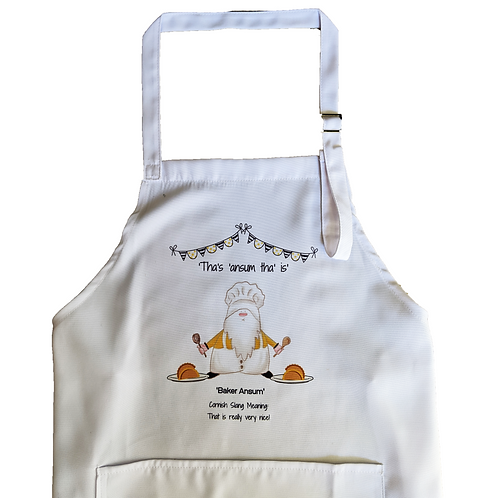 Baker Ansum Apron - Adult sized - white - handprinted