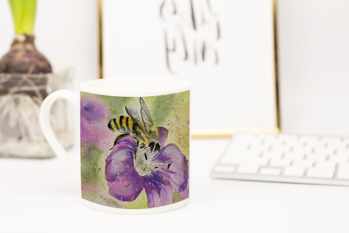 Animal Aura -Bone China mugs - Bumble Bee on flower