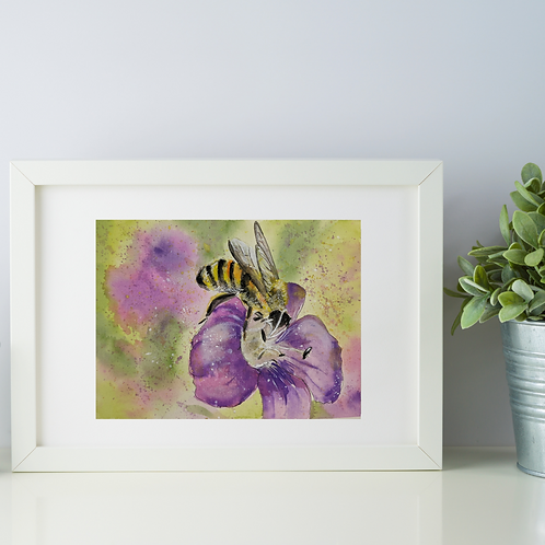 Animal Aura -Bumble Bee on flower Print