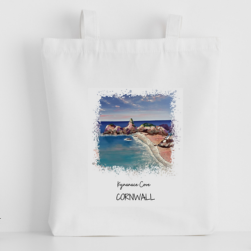 Luxury canvas tote bag, Kynance Cove, Newquay, handprinted in Cornwall