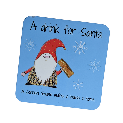 The Cornish Gnome Kids Santa Drink Coaster for xmas eve