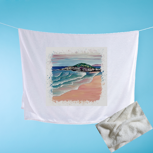 Luxury handprinted teatowel, Fistral Beach, Newquay, Cornwall (abstract)