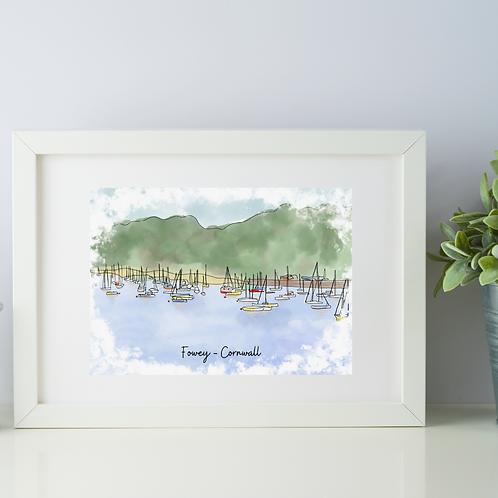 Fowey, Cornwall art print (many boats)