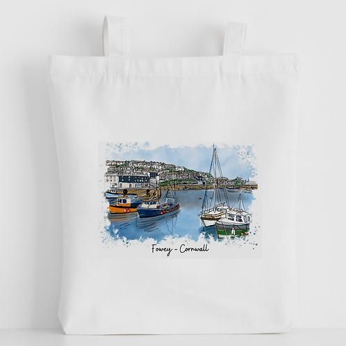 Luxury canvas tote bag, Fowey (foweyscape), handprinted in Cornwall