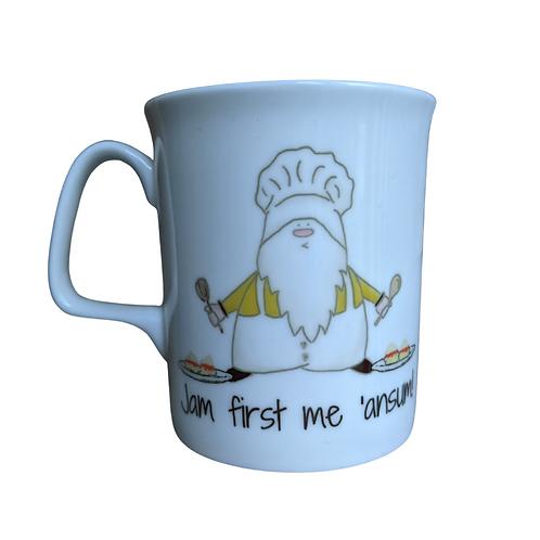 Cornish Gnome Mug -Baker Ansum Jam First - bone china and handprinted