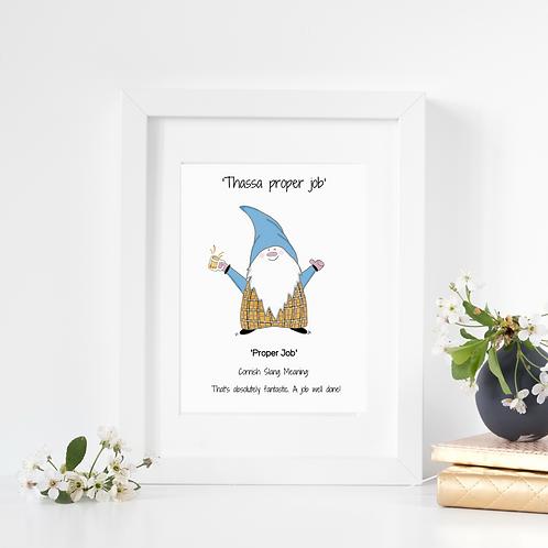 Cornish Gnome 'Proper Job' print, mounted and framed