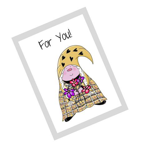 The Cornish Gnome Dearovim - For You greetings card