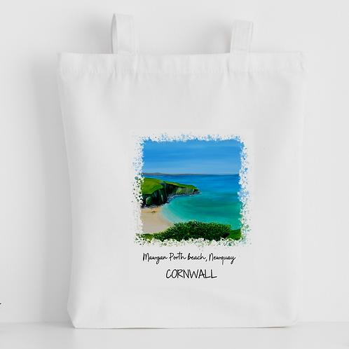 Luxury canvas tote bag, Mawgan Porth Beach, Newquay, handprinted in Corn