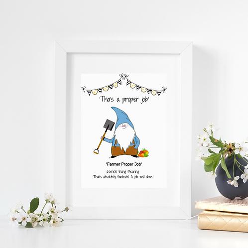 Cornish Gnome ' Farmer Proper Job' print, mounted or framed