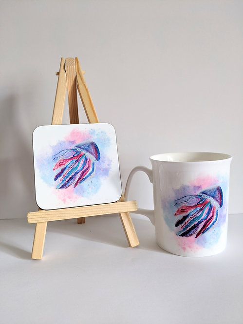 Sealife Mug and coaster set - jellyfish