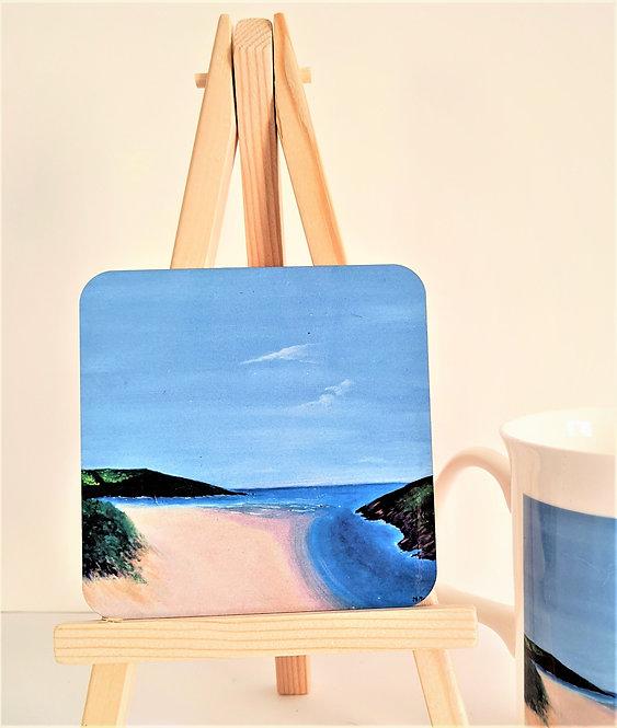 Crantock Beach coasters 4 pack (square)
