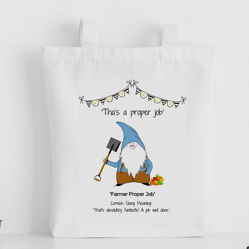 Cornish Gnome 'Farmer Proper Job' Tote Bag - personalise option