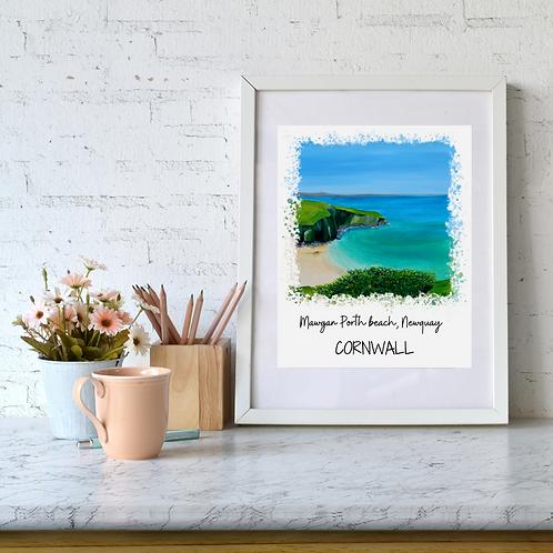 Mawgan Porth Beach, Newquay, Cornwall art print