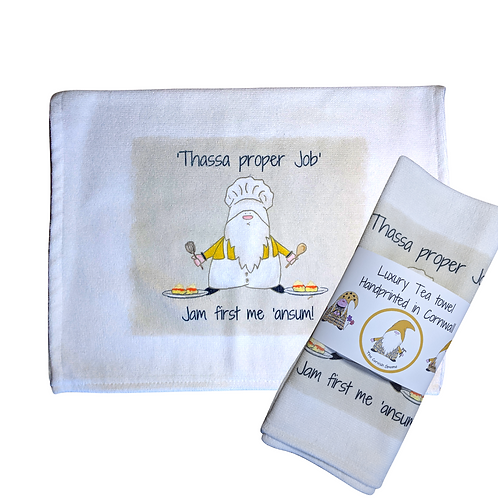 The Cornish Gnome Teatowels - Baker Ansum,Jam First - Luxury handprinted