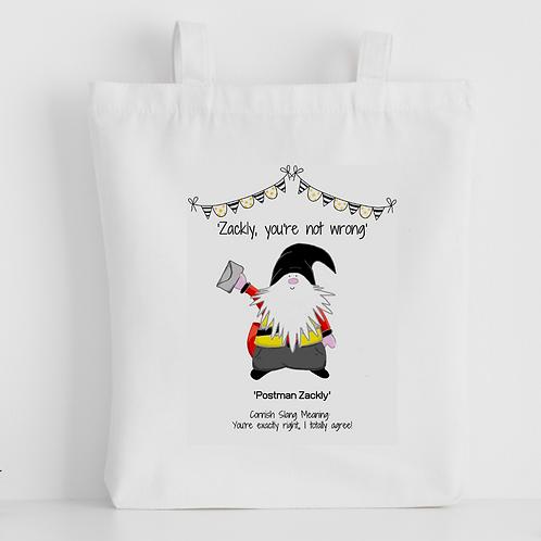Cornish Gnome 'Postman Zackly' Tote Bag - personalise option