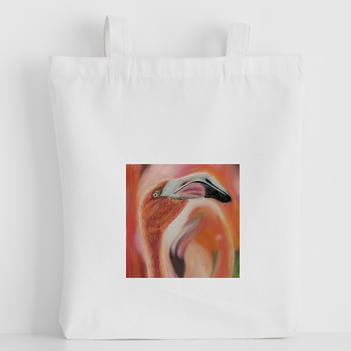 Luxury canvas tote bag, Flamingo, handprinted in Cornwall