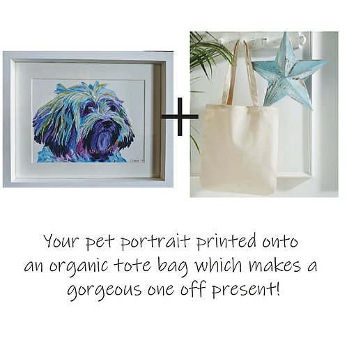 Painted Pet Portrait - Colourful and printed on an organic tote bag