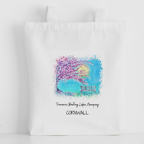 Luxury canvas tote bag, Trenance Boating Lake, Newquay, handprinted in Corn