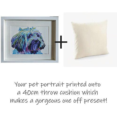 Painted Pet Portrait - Colourful and printed on a a 40cm throw cushion