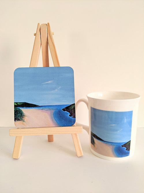 Crantock Beach Mug and Coaster set