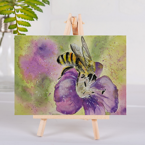 Animal Aura - Bumble Bee on flower - Greetings Card