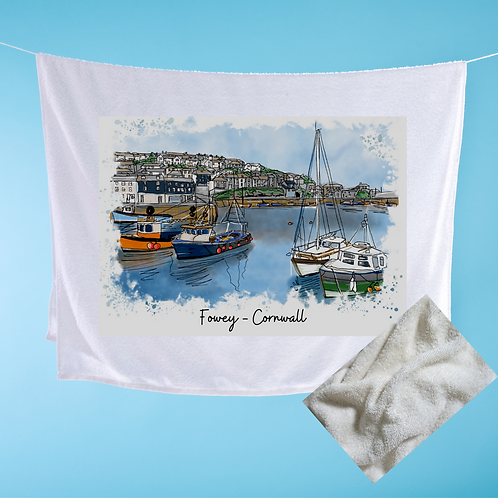 Luxury handprinted teatowel, Fowey (foweyscape), Cornwall