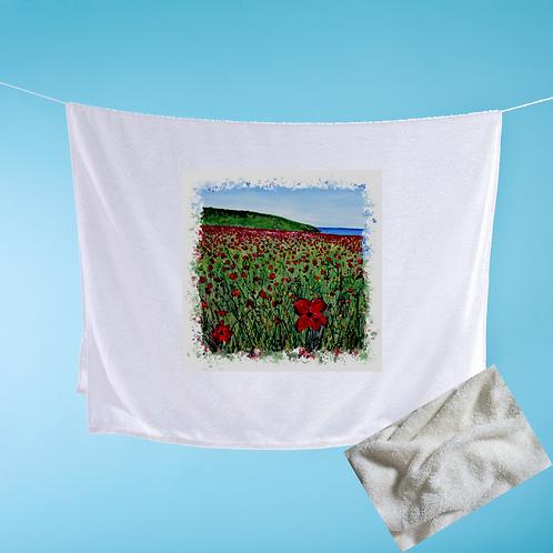 Luxury handprinted teatowel, Polly Joke Poppies, Newquay, Cornwall (abstract)