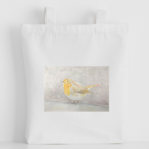 Luxury canvas tote bag, Robin in the snow handprinted in Cornwall