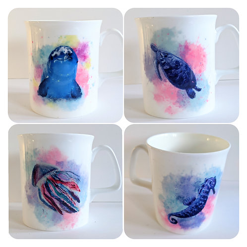 Sealife mugs -  set of 4 offer - dolphin, seahorse, jellyfish, sea turtle