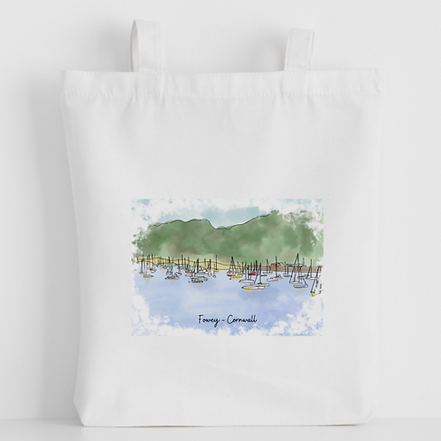 Luxury canvas tote bag, Fowey (many boats), handprinted in Cornwall