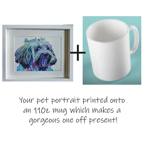Painted Pet Portrait - Colourful and printed on an 11oz mug