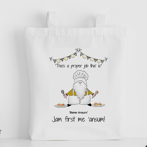 Cornish Gnome 'Baker Ansum - Jam First' Tote Bag - personalise option
